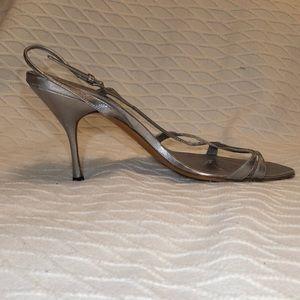Retro Prada Strappy silver leather heels